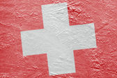 Swiss flag on the ice — Stock Photo