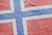 Norwegian flag on the ice — Stock Photo