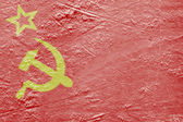 Flag of the Soviet Union on the ice — Stok fotoğraf