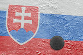 Slovak flag and puck on ice — Stock Photo
