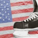 Постер, плакат: Hockey skates and American flag
