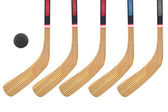 Hockey stick and puck — Stok fotoğraf