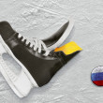 Постер, плакат: Hockey skates and puck