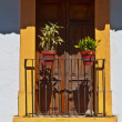 French balcony with two potted plants - Stock Photo