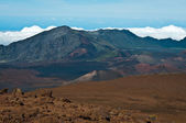 Haleakala crater and clouds beneath. — Stock Photo
