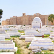 Arabic cemetery next to Ribat in Monastir, Tunisia - Stok fotoraf