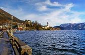 Village St Wolfgang on the lake Wolfgangsee at winter - Salzburg — Stock Photo