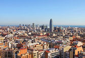 Bird's eye view of Barcelona (Spain) in the morning — Stock Photo