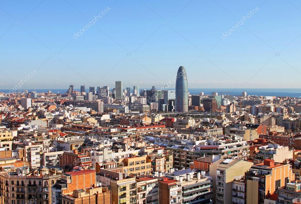 Birds eye view of Barcelona (Spain) in the morning — Stock ...