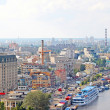 Kiev bussines and industry city landscape on river and buildings — Stock Photo
