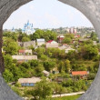 Nce view through loophole in fort in Kamjanets-Podolsk — Stock Photo
