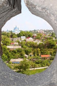 Nce view through loophole in fort in Kamjanets-Podolsk — Zdjęcie stockowe