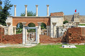 Ruins of st. Johns Basilica and the Roman Fortress — Stock Photo