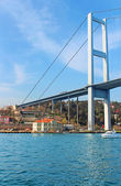 Bosphorus Bridge and Hatice Sultan Palace in istanbul, Turkey — Stock Photo