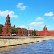 Moscow Kremlin and Moskva River in sunny day. Russia - Stock Photo