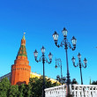 Old-fashioned street lamps in the summer, Moscow near Kremlin, Russia — Stock Photo