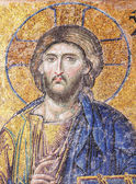 Ancient mosaic in Hagia Sophia in Istanbul, Turkey. Hagia Sophia is the greatest monument of Byzantine Culture. It was built in the 6th century — Stock Photo