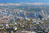 Panoramic view of Skyline Frankfurt am Main, Germany from the plane — Stock Photo