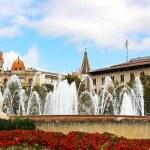 Fountain at Catalonia Square in Barcelona, Spain — Stock Photo
