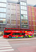Stockholm Bus Touristic. With City Sightseeing Hop On - Hop Off all the best attractions of Stockholm and Djurgarden Island can be observed. Hop on and off works 24 or 72 hours — Stock Photo
