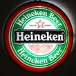 Heineken advertisement in bar in Lloret de Mar, Spain. With 139.2 million hectolitres of beer annually, Heineken is the 3rd largest beer producer worldwide — Stock Photo