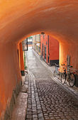 Vaulted entrance to a medieval alley in Stockholm — Stockfoto