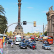 Traffic near Columbus monument in Barcelona, Spain — Stock Photo #35227559