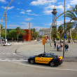 Stock Photo: Barcelontaxi and cableway in Barcelona, Spain