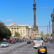 Traffic near Columbus monument in Barcelona — Stock Photo #35227575