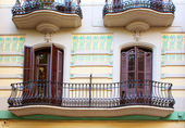 Balconies in old house in Barcelona, Spain — Stock Photo