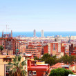 Panorama view of Barcelona from Park Guell in sunny day. Spain — Foto de Stock