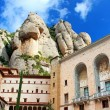 View of Montserrat Monastery. Beautiful Benedictine Abbey, high in mountains. Catalonia. Spain — Stock Photo