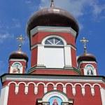 Gate to old orthodox church of Cathedral of St. Pantaleon or St. Panteleimon in Feofania, Kiev — Stock Photo