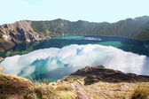 Quilotoa is a water-filled caldera that was formed by the collapse of the volcano — Stock Photo