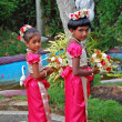 Stock Photo: Two girls are taking part in wedding ceremony in Sri Lanka