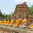 Aligned buddha statues with orange bands in Ayutthaya, Thailand — Stock Photo #43935995