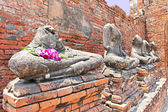 Ruin of Buddha statues in Ayutthaya historical park, Thailand — Photo