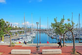 Many yachts lying at Port, Barcelona, Spain in Barcelona, Spain — Stock Photo