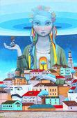 "Within the framework of festival "" French spring"" french painter Julien Mullan and the artist Alexei Kislov from Sevastopol presented new graffiti in Kyiv, Ukraine — Stock Photo"