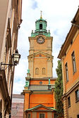 Saint Nicholas (Storkyrkan) Bell Tower, Stockholm, Sweden — Stock Photo