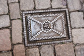 Sewer manhole in Stockholm, Sweden — 图库照片
