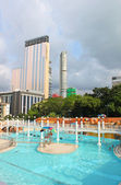 Public swimming pool in Kowloon park, Hong Kong. Hong Kong alternatively known by its initials H.K., is situated on China's south coast — Стоковое фото