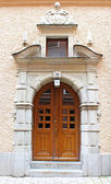 Beautiful wooden door, old architecture, Stockholm, Sweden — Stock Photo