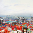 Busy port in the morning in Hong Kong from bird view — Stock Photo #49856359
