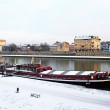 Vistula and red pleasure boat in Krakow, Poland — Stock Photo #9444047