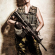 Female soldier - Stock Photo