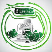 Black tea — Stock Vector