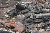 The wreckage of the old asphalt — Stock Photo