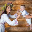 Woman with her little son in traditional dress — Stock Photo