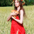 Girl with bread in the field — Stock Photo